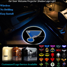 2pcs St. Louis Blues Logo Wireless Senor Car Door Welcome Ghost Shadow Spotlight Laser Projector Puddle LED Light