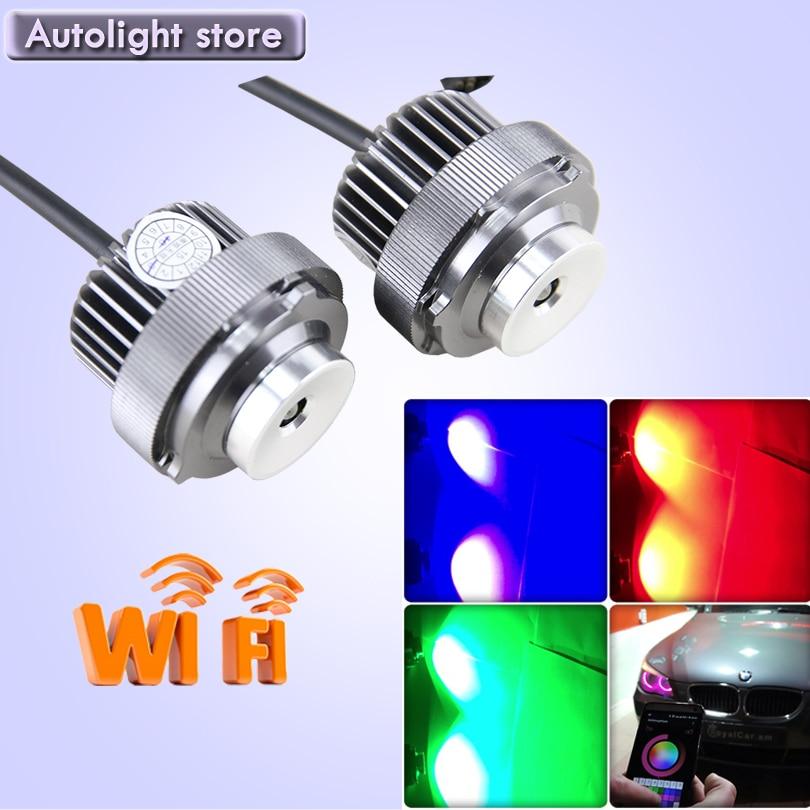 Play &amp; Plug Wifi control RGB LED Marker Angel Eyes 12W for BMW E60 E61 12V 24V led marker bulbs<br><br>Aliexpress
