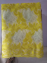 Yellow 2017 Nigerian lace fabrics for wedding party 100% cotton african swiss voile lace high quality in switzerland AMY723B-B