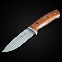 PEGASI Buck Fixed Blade Knife Stainless Steel 7Cr13Mov Wood Handle Camping Hunting Knife Survival Knives Tool