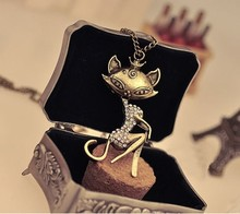 Free Shipping Retro Sexy Crystal Cat Girl Necklace Sweater Chain Pendant Fashion Antique Copper