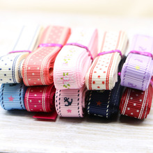 mixed  10YARD10mm satin ribbon printed white dots packing belt gift wedding party deco craft bows Garments Accessory