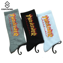 2017 New Cotton Men/women Crew Socks Of Letter Printed Pattern Fashion Hip Hop Brand Skate Happy Sox Skate Fixed gear