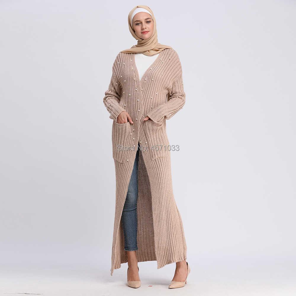 898efdae42 Muslim Beading Abaya Sweaters Coat Maxi Dress Cardigan Long Robes Tunic  Kimono Ramadan Turkey Islamic Clothing