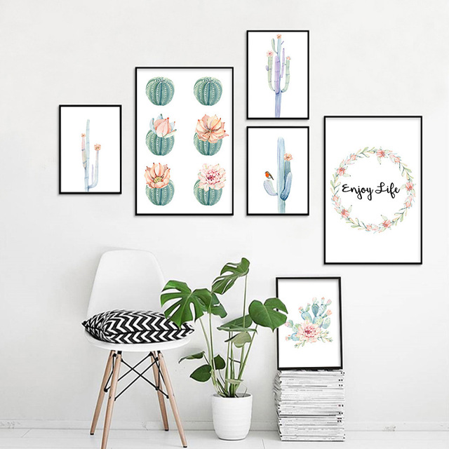 Cactus-Decor-Wall-Art-Canvas-Painting-Watercolor-Plant-Flower-Canvas-Posters-and-Prints-Wall-Pictures-for.jpg_640x640