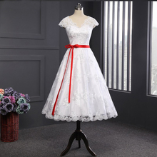 2016 White/Ivory Short Wedding Dress with Red Sash the Brides Sexy Lace Wedding Dresses Bridal Gown vestido de noiva Real Photo