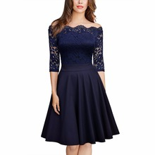 Women's Vintage Elegant Slash Neck Off Shoulder 2/3 Sleeve Lace Contrast Swing Cocktail Party Dress(China)