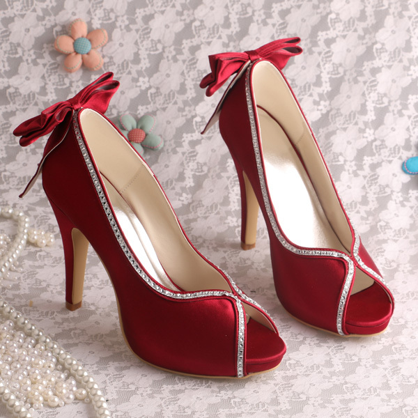 Wedopus MW1348R Modern Ladies High Heels Women Shoes for Bridal Party Wine Red Satin Open Toes <br><br>Aliexpress