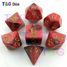 Top Quality Hot 7pcs Mix color Magic Dice Set with Nebula effect dados game rpg juguetes Magic Red Digital Dice
