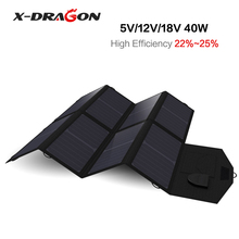 X-DRAGON Foldable Portable Solar Panel Charger 5V USB+18V DC Solar Chargers for Phones, Tablets, Laptops, Car Battery, Camera.(China)