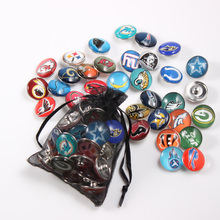32pcs/lot Mixed Colors NFL Football Team 18mm Glass Snap Button Jewelry Faceted Glass Snap Fit Snap Bracelet Ginger Snap Jewelry