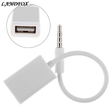 LANDFOX 3.5mm Male AUX Audio Plug Jack To USB 2.0 Female Converter Cable Cord Car MP3(China)
