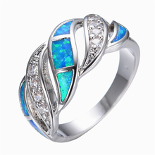 Blue Fashion Jewelry Crystal Fire Opal Ring 14KT White Gold filled 925 Sterling Silver Jewelry Wedding Rings For Women RP0011