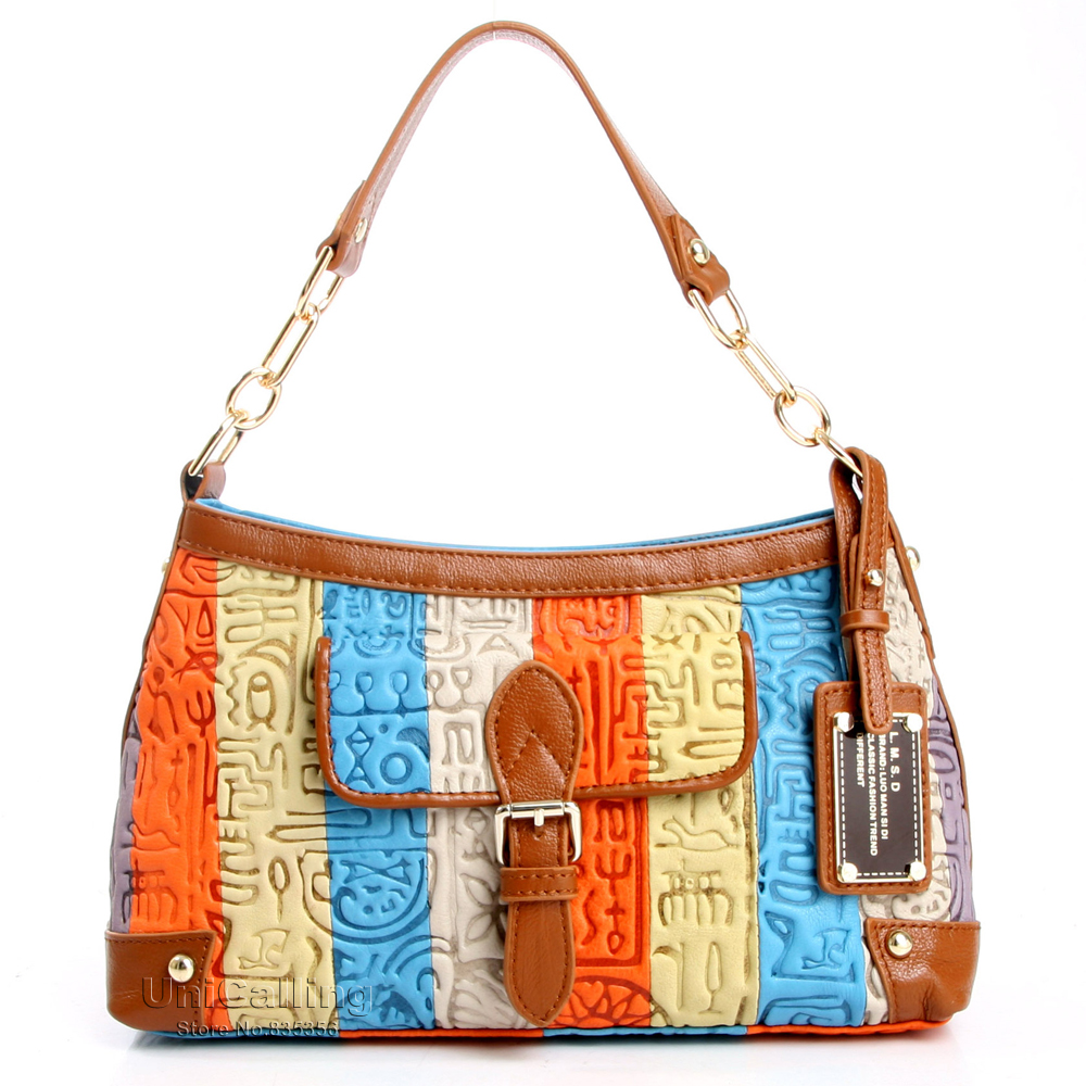 Luxury bag women bag leather stylish female colorful striped patchwork leather tote bag handbag ancient hieroglyphic embossing<br><br>Aliexpress