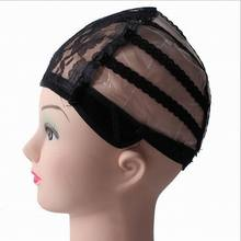 Sale Black Glueless Full Lace Mesh Wig Caps Women Hair Care Supplies Hair Clips HIgh Quality(China)