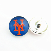 20pcs/lot Fashion MLB New York Mets Baseball Hat Logo Snap Button Sports Snap Jewelry for 18mm Ginger Snap Bracelet/Necklace(China)