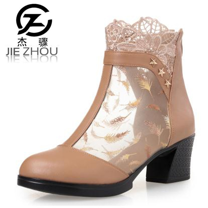 Spring and summer leather women cool boots lace mesh boots sexy Large size Crude heel sandals Womens high-heeled sandals <br>
