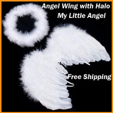 Free Shipping 6-18mo Angel Feather Wings Cupid Fairy Baby Photo Props Free Halo