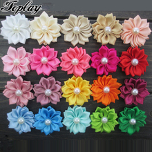"Toplay 100pcs/lot 1.5""Multilayers Satin Ribbon Flowers With Pearl Christmas Hair Flower Little Girls Hair Accessories"