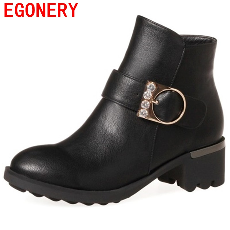 egonery women ankle boots round toe mid heel shoes ladies buckle booties red black grey 3 color good quality shoes woman botas<br>