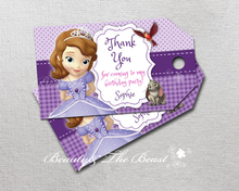 Personalized Sofia the First Thank you Tags,Sophia Gift Favors tags,Princess Label Birthday party decorations kids,Party supplie(China)
