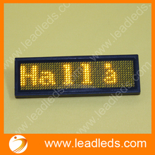 Yellow Led Name Badge sign scrolling message advertising display / business card show tag /Rechargable+Programmed