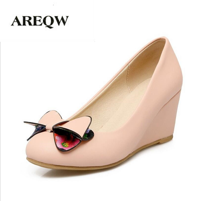 AREQW Shallow mouth round head wedges shoes women 2017 spring new high heels sweet bow girl single shoes large size shoes 43<br>