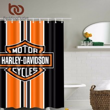 BeddingOutlet Harley Davidson Logo Pattern Waterproof Bathroom Shower Curtain Anti Bacterial Waterproof Polyester with Hooks 71""