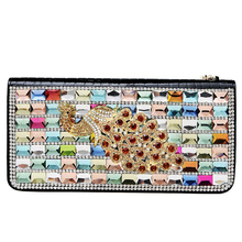 2017 New Fashion Carteira Auger Crystal Peacock Leather Wallet Personality Punk Cluthes Women Luxurious Wallets Feminina Purse