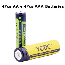YCDC AA-2000mAh AAA-1000mAh Rechargeable Batteries Cells Portable 1.2V High Volume High Capacity Long Lasting 8PCS=Each 4PCS