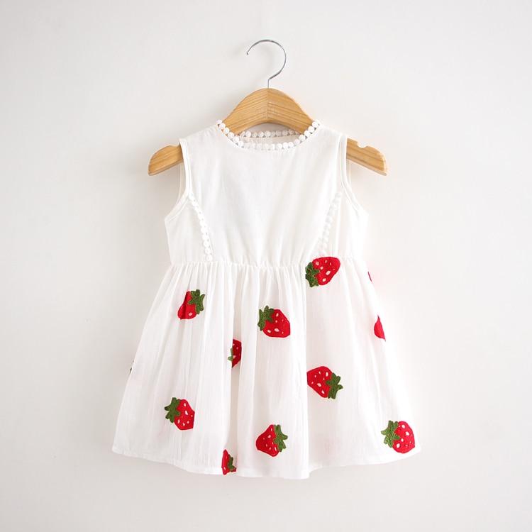 2016 new baby girls 100% cotton dress embroidered  strawberry white sleeveless white dress<br><br>Aliexpress