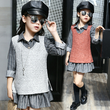 2017 spring and autumn hot fashion children's skirt suit girls 4-11 plush vest + shirt collar striped dress two-piece