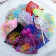 Wholesale 100pc/lot 5x7cm Organza Gift Bags Christmas Bags Wedding Drawable Organza Voile Gift Packaging Bags Cheap Pouches Bags