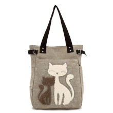 2017 new women's handbag ladies shoulder bags canvas bag cute cat Appliques portable Handbags(China)