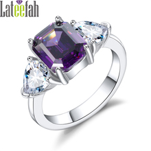 Lateefah Unique Three Stones Rings for Women Purple Cubic Zirconia Birthstone Ring for Jewelry Gift Engagement Promise Ring Anel