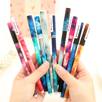 6 pcs/set Cute pens 0.38mm ballpoint pens Starry star Foral gel pen Black ink refill Office accessories School supplies A6824