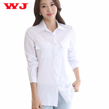 WJ 2017 Women Long White Blouse Korean Style Female Solid Elegant Blusas Ladies Office Long Sleeve Blouses Shirt