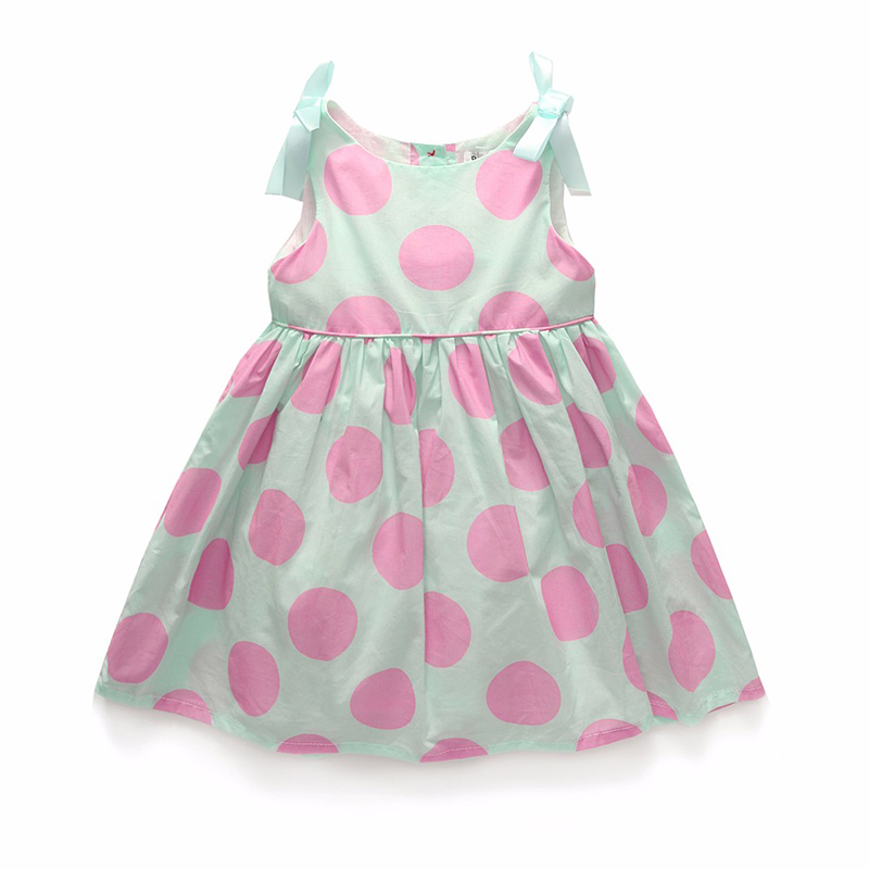 new Summer sweet children cloth girls dress kids clothes dress sleeveless a-line bow european sweet princess dot print dresses<br><br>Aliexpress