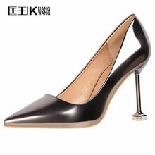 Sexy High Heels Shoes Women Pumps High Heels Shoes Women Pointed Toe Thin Heel Ladies Wedding Shoes Gold Silver(China)