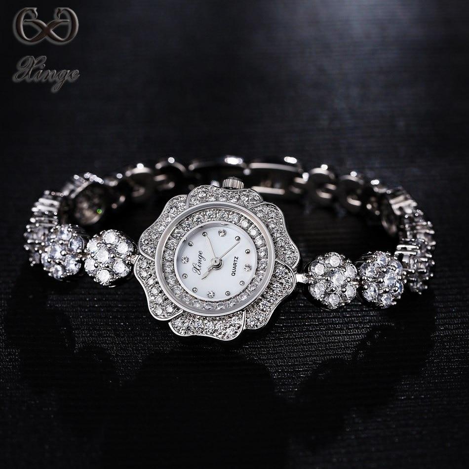 Xinge Brand 2017 New High Quality Simple Crystal Zircon Bracelet Women Watches Silver Luxury Fashion Ladies Quartz-watches <br>