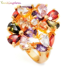 Yunkingdom Complicated Design Jewelry  Gold Color Double Flower Big Rings Big  zircon crystal For Graceful Ladies