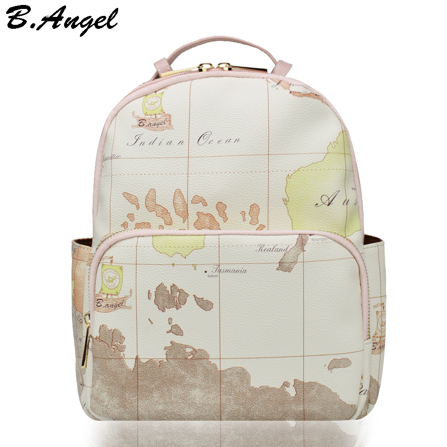 High quality white world map backpack women backpack leather backpack printing backpack travel bag<br>