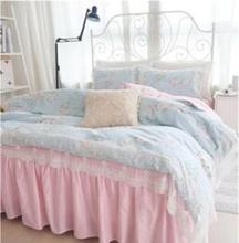 Korean style 100% cotton 3pcs/4pcs child princess girl lace flower blue pink comforter/duvet cover bedskirt bedding set/B3904