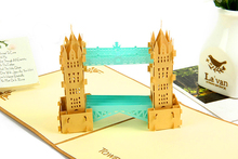 2017 Hot Sale 3D London Bridge Cards Pop Up Promotional Custom Greeting Cards Wholesale Pop-Up Chinese Paper-Cut Craft Cards(China)
