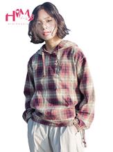 Autumn Japanese New Style Student Short Type Loose Hoodie Original Literature Hooded Plaid Full Sleeve Women Casual Fresh Hoodie(China)