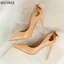 2017 New Autumn Fashion Solid Patent Leather Shallow Women Pumps Sexy Cut-Outs Bowtie Pointed Toe High Heels 10cm Shoes Women's