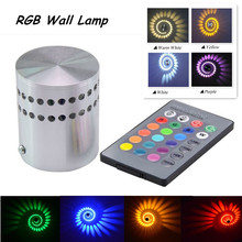 3W AC85-265V RGB Wall Lamp KTV Karaoke Bar Decoration Bedside Hotel Corrider LED Wall Light RGB Bulb with 24 Keys Remote Control(China)