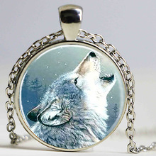 Free shipping Glass Photo Cabochon,Glass Tile Necklace Wolf Necklace Glass Pendant Jewelry ,Stark Wolf Necklace for Friend