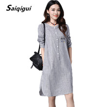 Saiqigui Striped Dress 2017 Vestidos Women's Fashion Cotton Linen Spring Dresses Robe Casual Cartoon Print Blouse Shirt Dress(China)