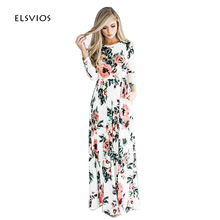 ELSVIOS 2017 Summer Boho Beach Dress Fashion Floral Printed Women Long Dress Three Quarter sleeve Loose Maxi Dress Vestidos(China)